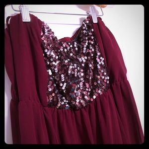 Maroon short length dress perfect for any party